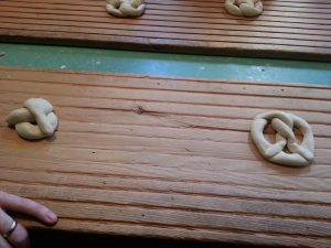 Hubs trying his hand at twisting pretzels...he got it the second time.